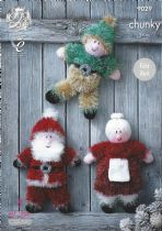 King Cole Tinsel Chunky - 9029 Christmas Sants, Elf & Mrs Claus Knitting Pattern